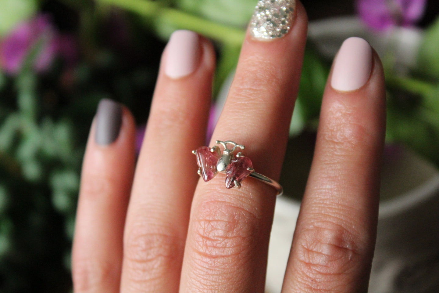 Size 6 ; Pink Tourmaline Butterfly Ring