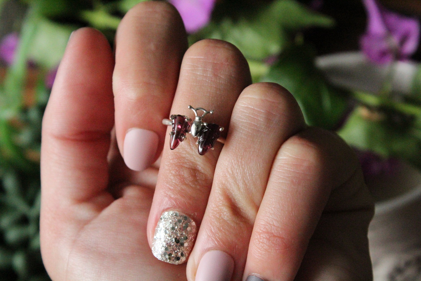 Size 6.5; Pink Tourmaline Butterfly Ring