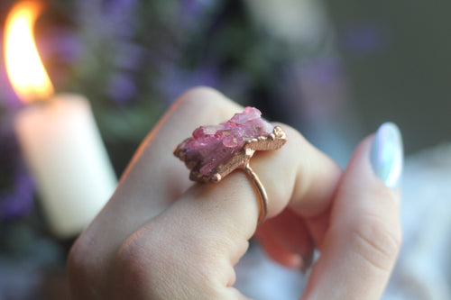 Size 7 ; Rose Aura Cluster Ring