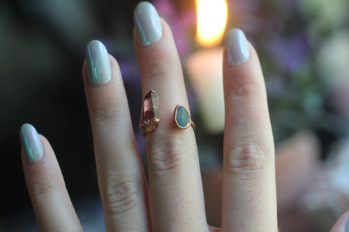 Size 6 ; Rose and Opal Space Ring