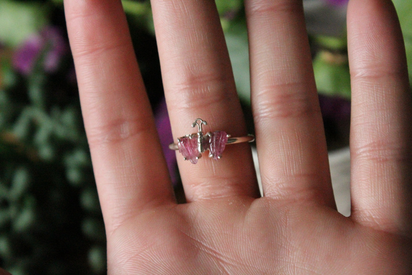 Size 9; Pink Tourmaline Butterfly Ring