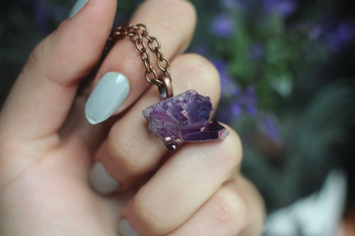 Plum Aura Cluster Necklace