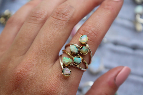 Size 8; Ethiopian Opal Two Toned Ring