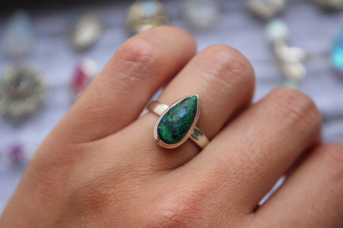 Size 6; Azurite in Malachite Ring