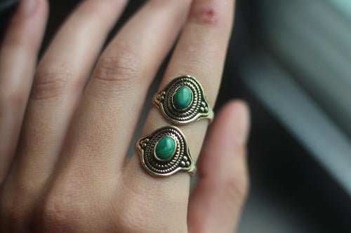 Gold Malachite Ring