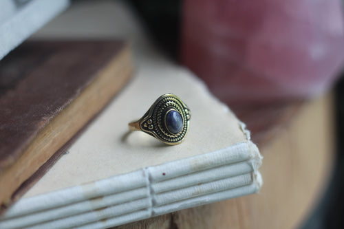 Size 8.5; Gold Sodalite Ring