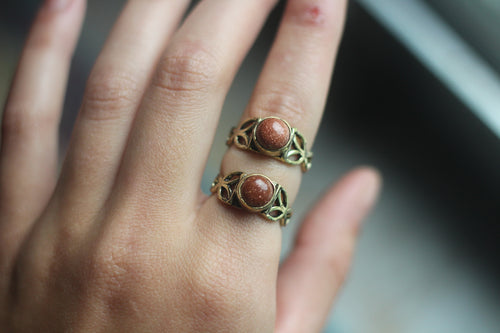 Gold Goldstone Ring