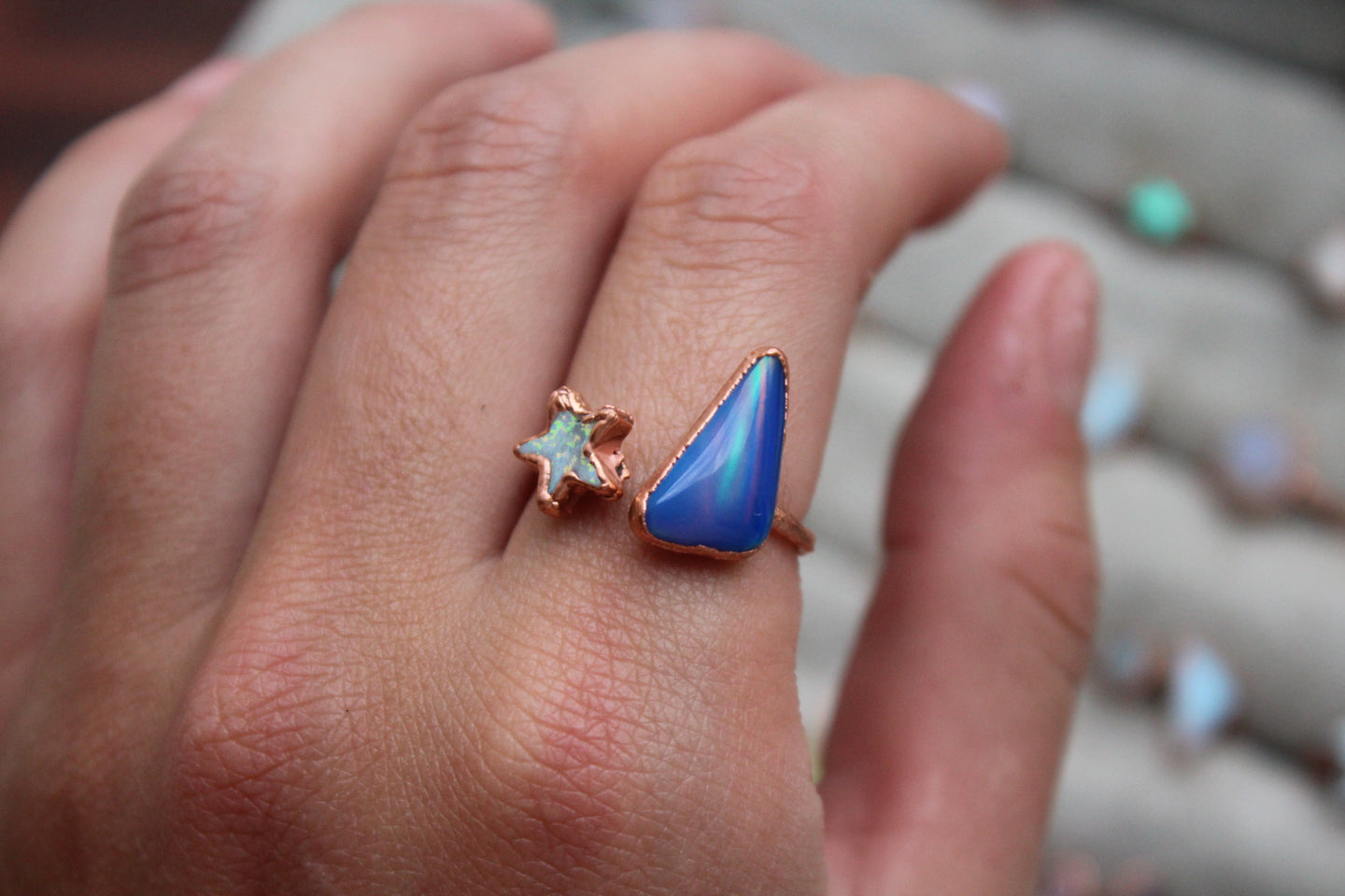 Size 8-9; Aurora Opal Star Ring