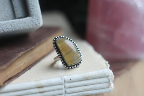 Size 8; Yellow Fluorite Ring