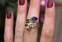 Size 7.5; Amethyst & Citrine Wrap Ring