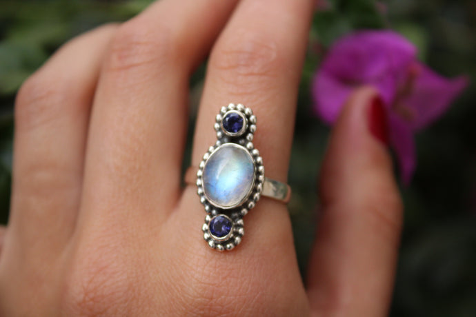 Size 8.5; Moonstone & Iolite Ring