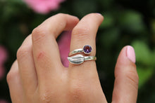 Size 9-12; Amethyst Leaf Ring