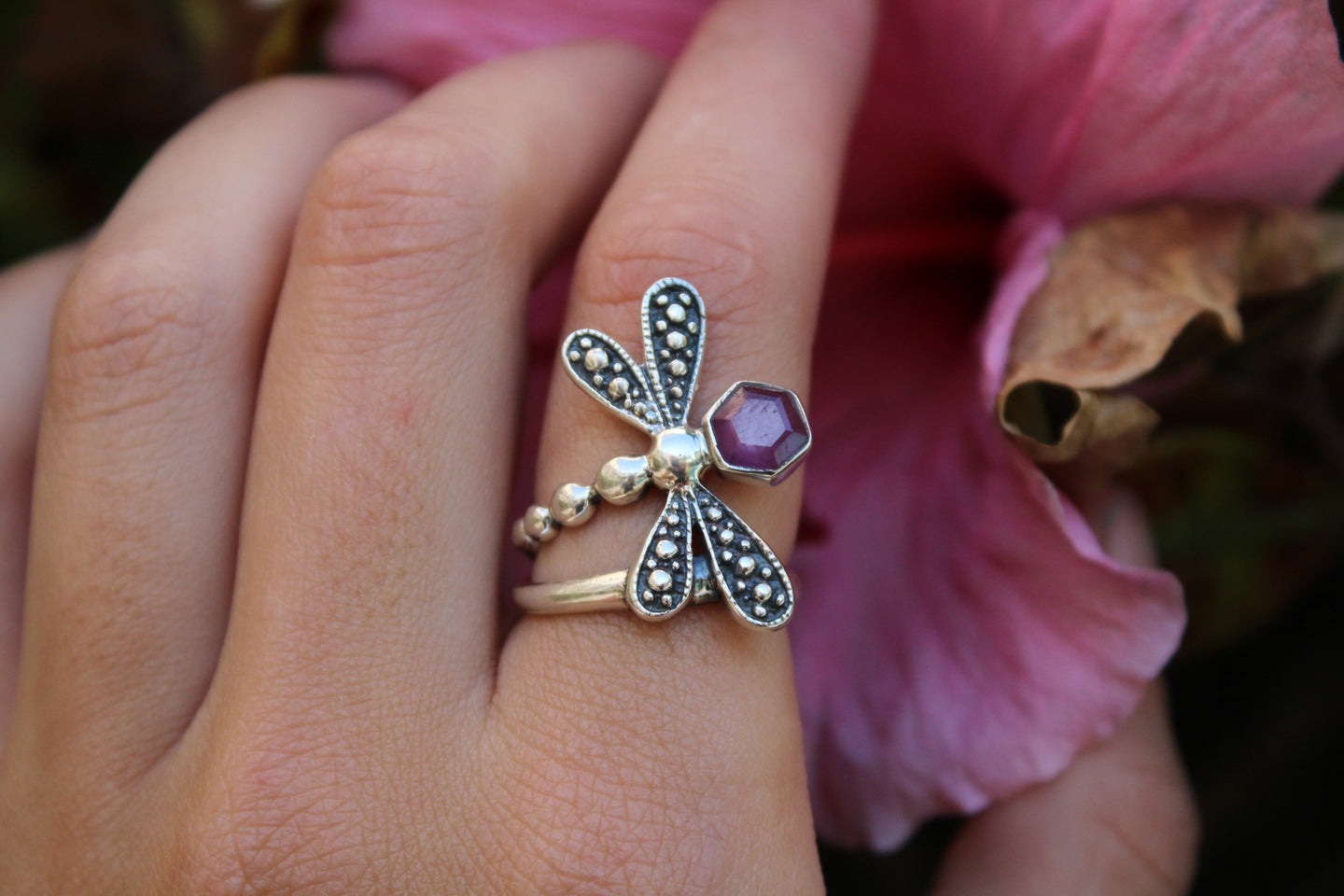 Size 7.5; Ruby Stalactite Dragonfly Ring