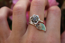 Size 7-8.5; Labradorite Flower Ring