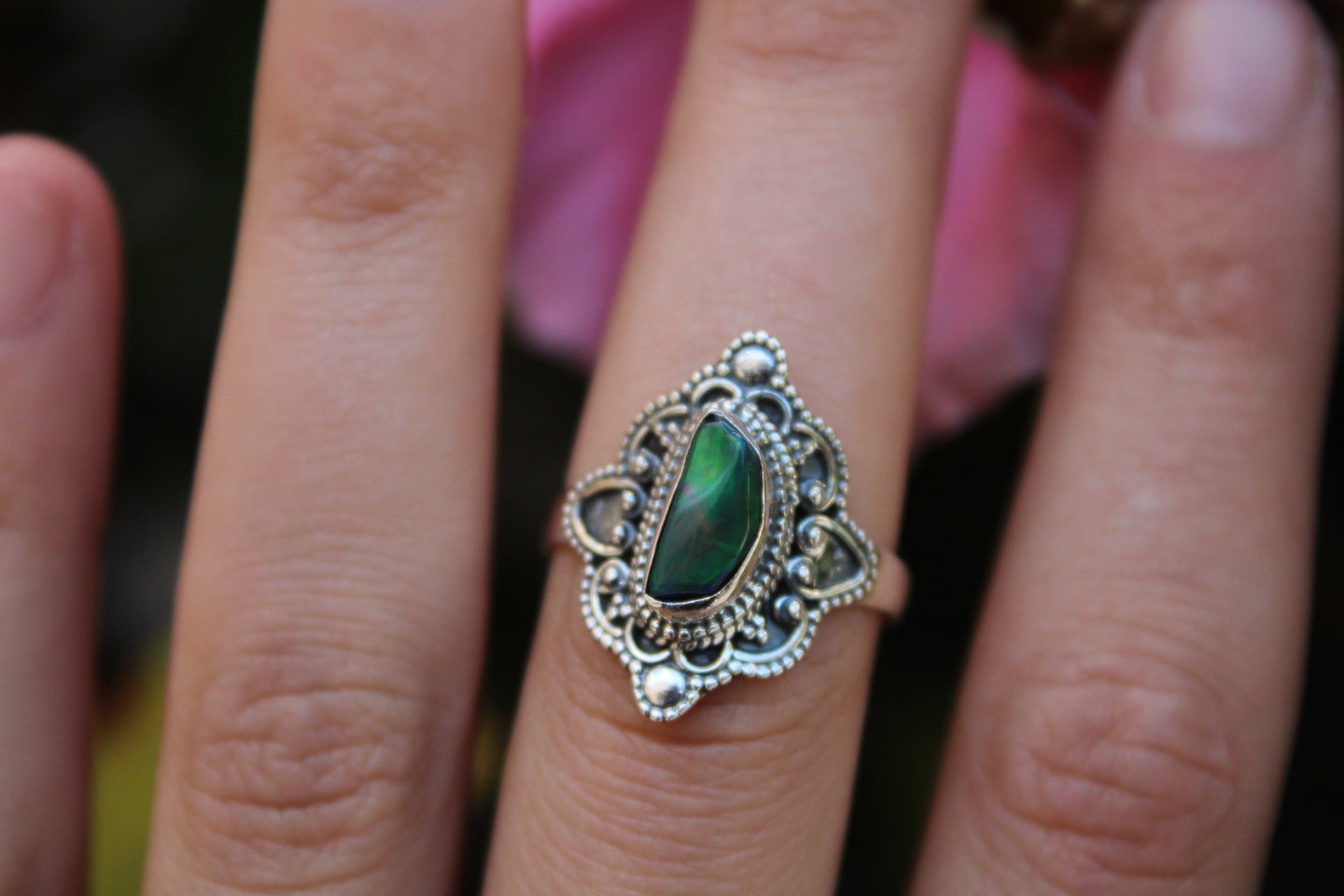 Size 8; Black Opal Ring