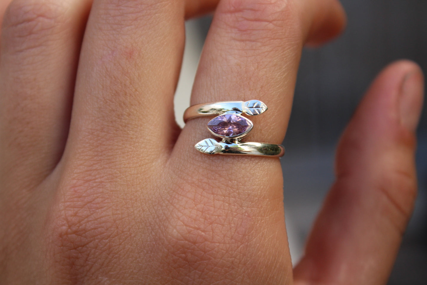 Size 8; Kunzite Leaf Ring