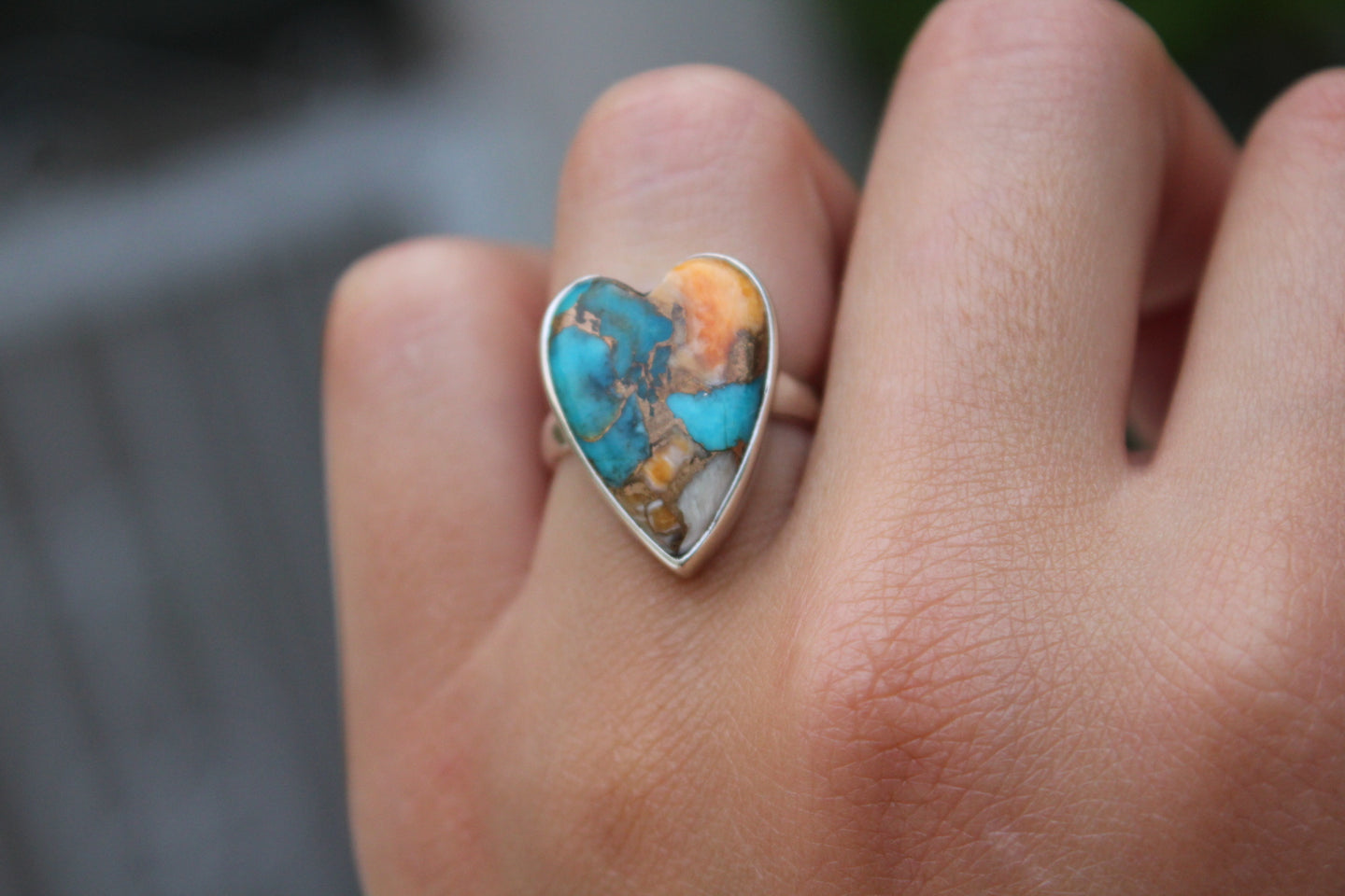 Size 5.5; Spiny Oyster Turquoise Ring