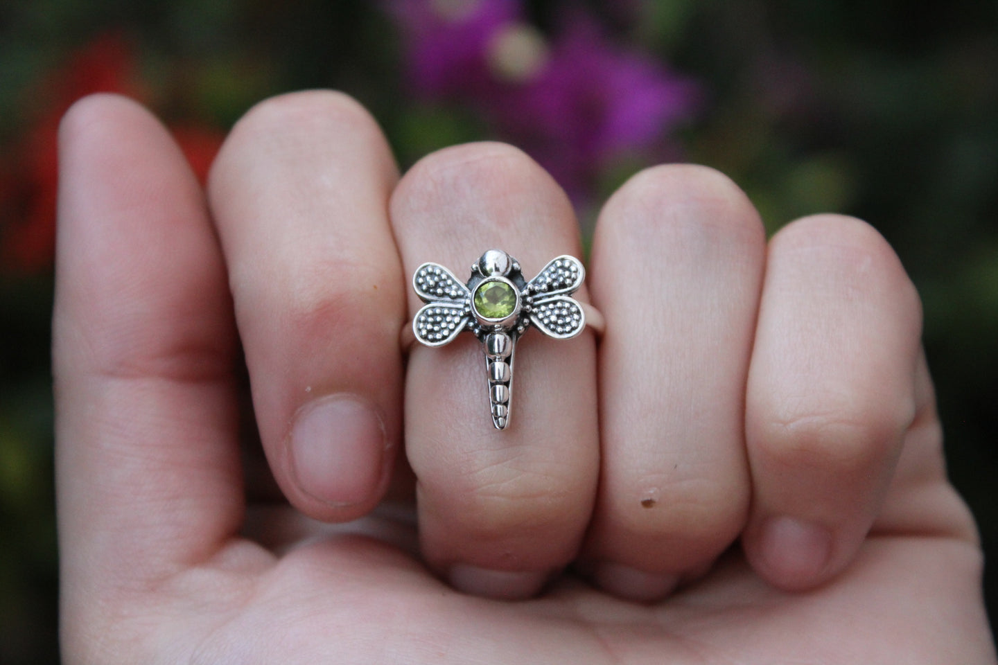 Size 8; Peridot Dragonfly Ring