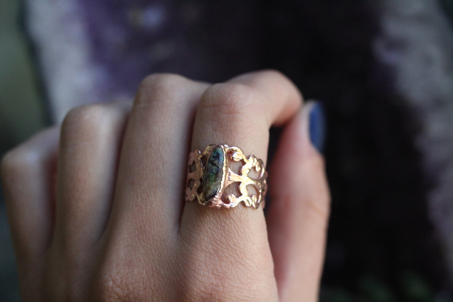 Size 6-10; Monarch Opal Armor Ring