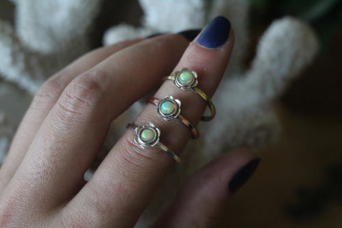 Size 9; Two Tone Ethiopian Opal Flower Ring