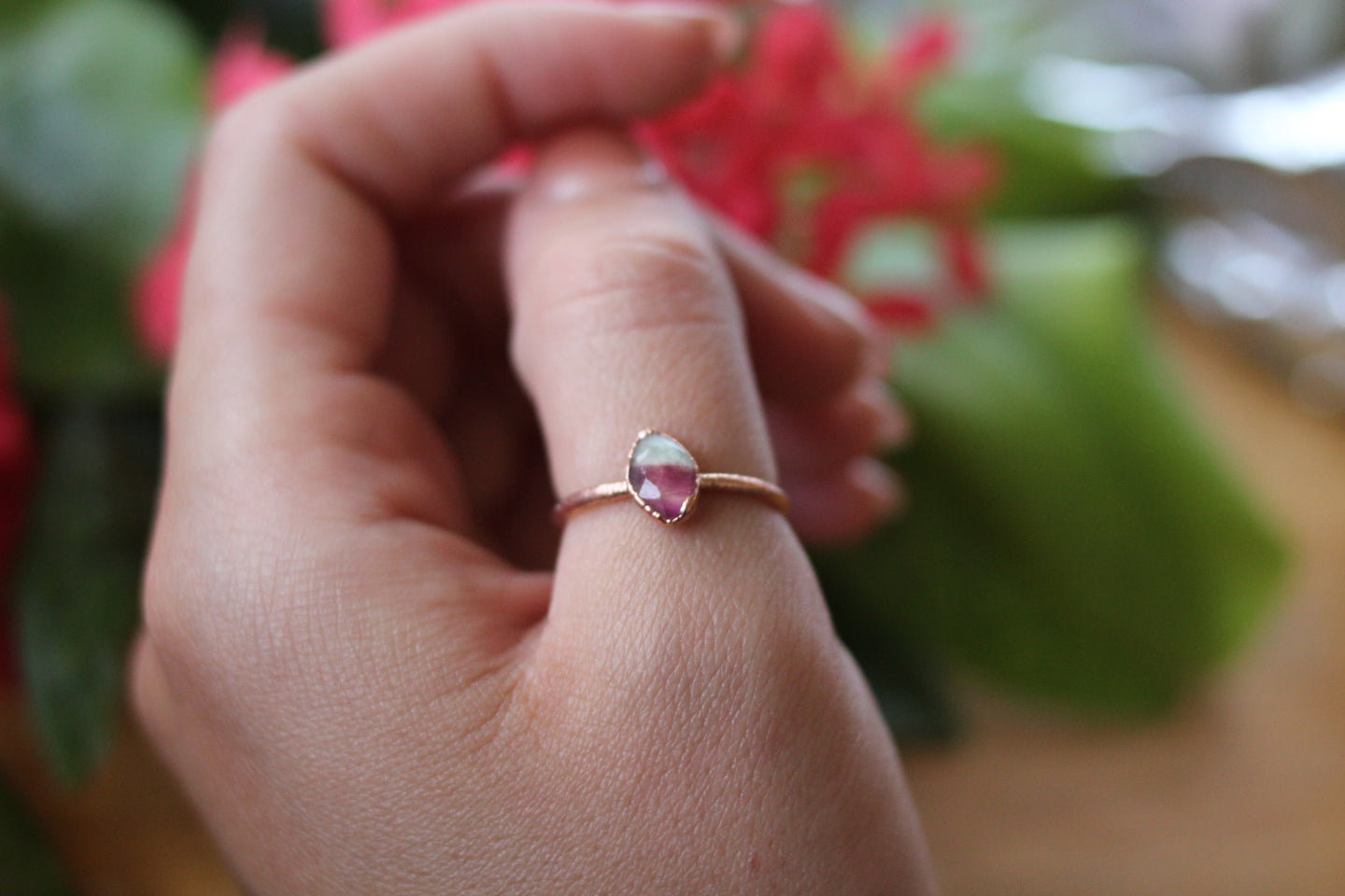 Size 8; Watermelon Tourmaline Ring