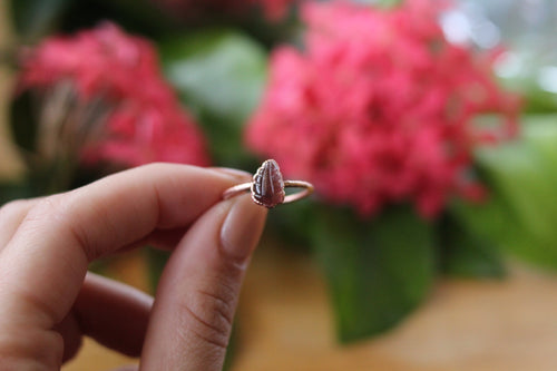 Size 8.5; Pink Tourmaline Leaf Ring
