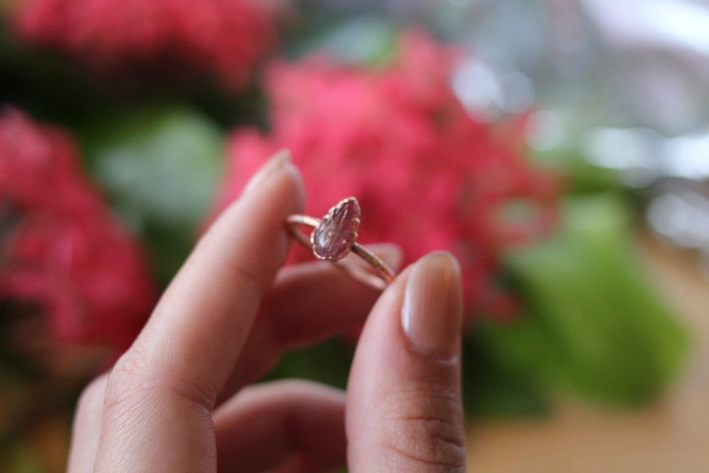 Size 9.5; Pink Tourmaline Leaf Ring