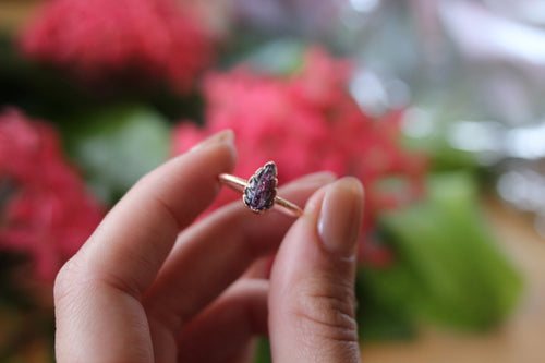 Size 8; Pink Tourmaline Leaf Ring
