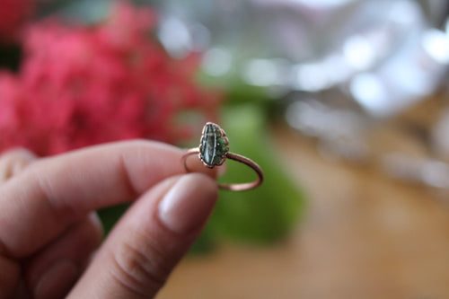 Size 9; Green Tourmaline Leaf Ring
