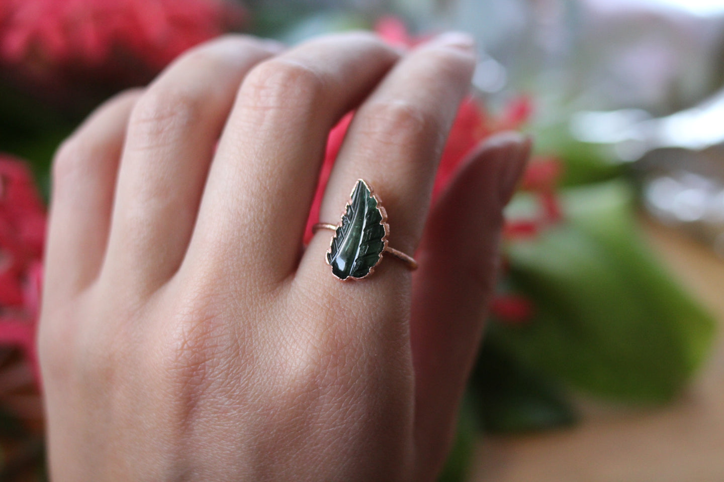 Size 8; Green Tourmaline Leaf Ring