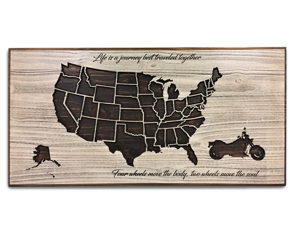 Motorcycle Rally Push Pin Map