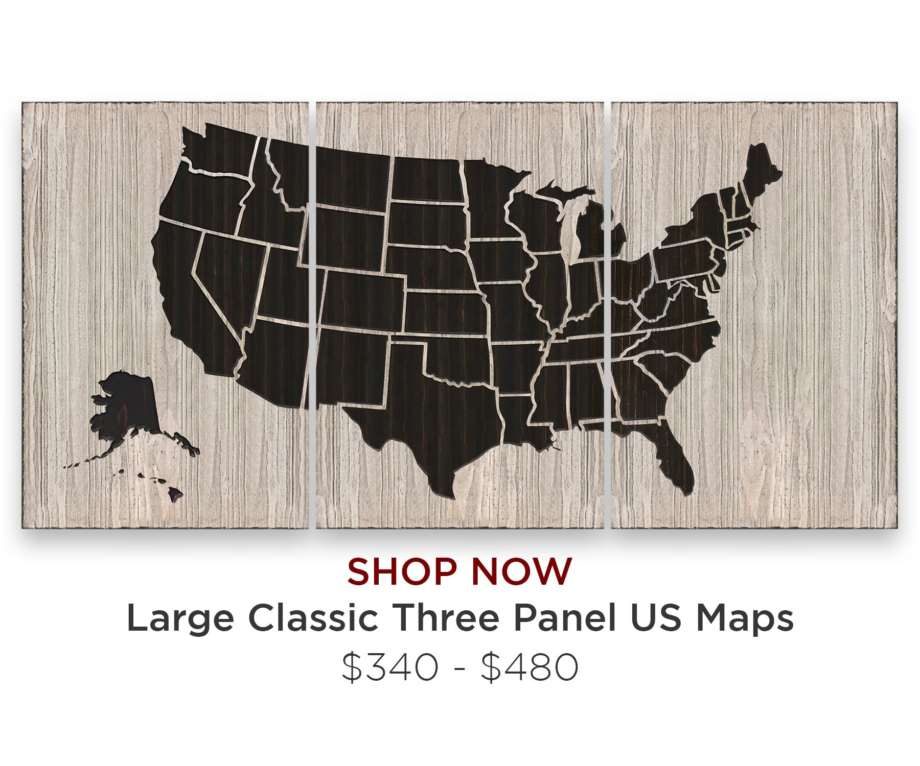 Large US Map Wood Wall Art Home Decor