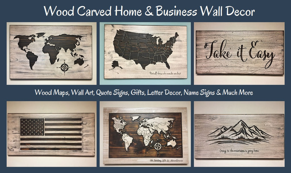 wood wall art wooden maps wood carved maps quote signs home wall