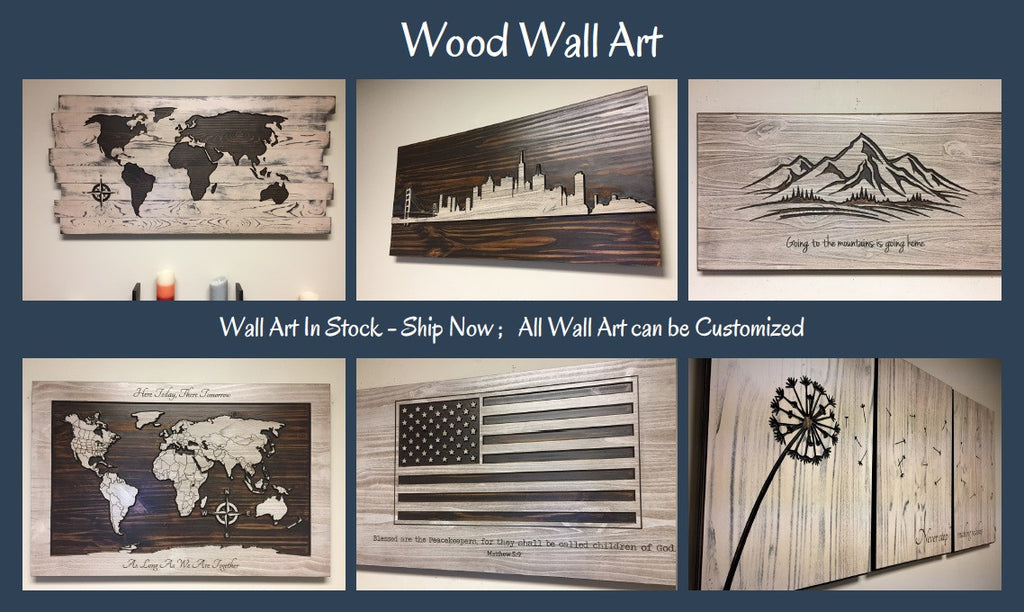wood wall art luxury home decor skyline art dandelion art american flag family name signs - Custom Signs For Home Decor