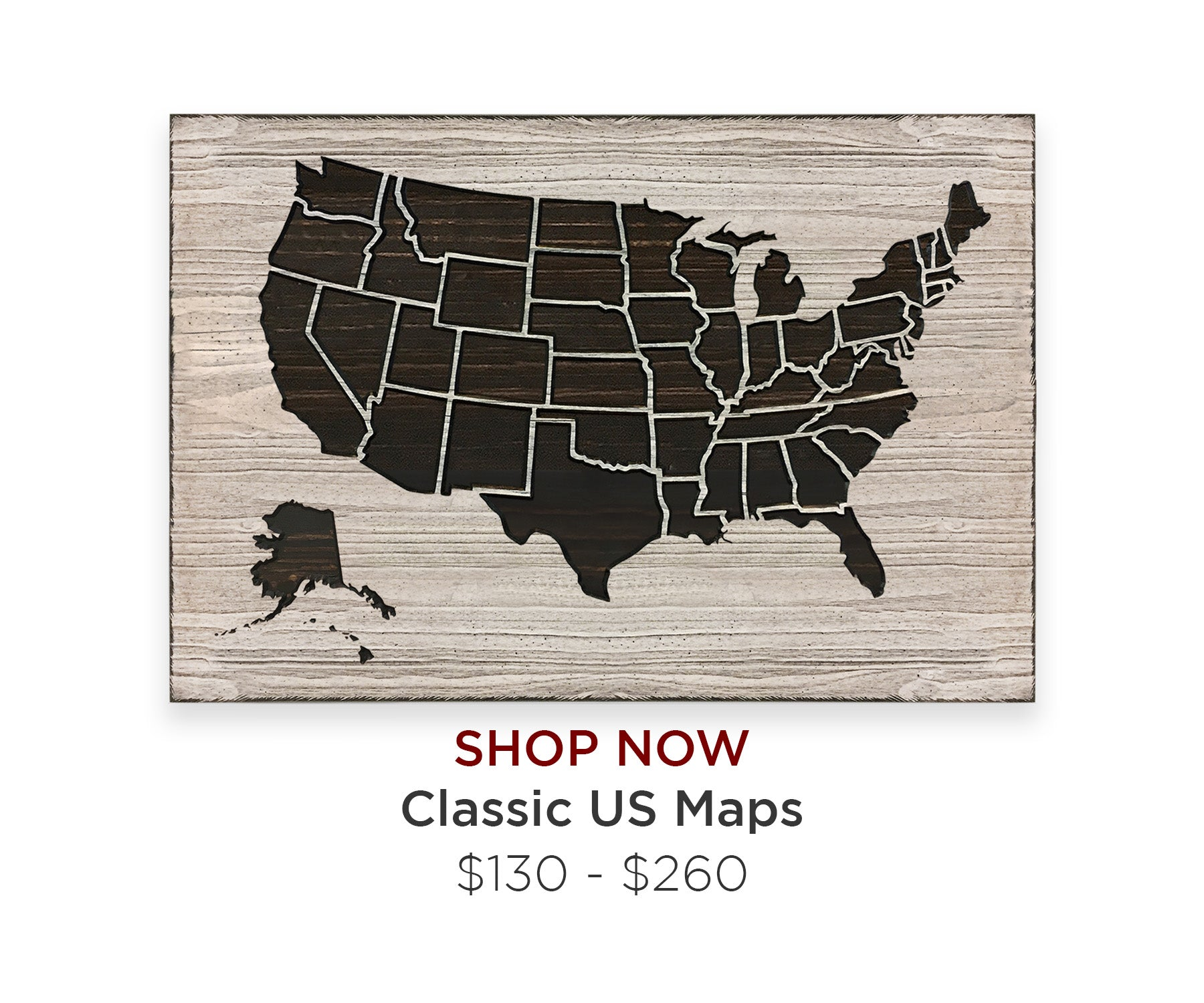 US Map Art Wood Wall Decor Push Pin