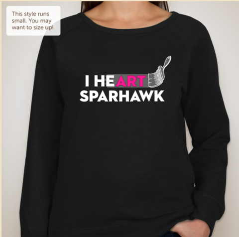 I heart Sparhawk ladies crew neck sweatshirt