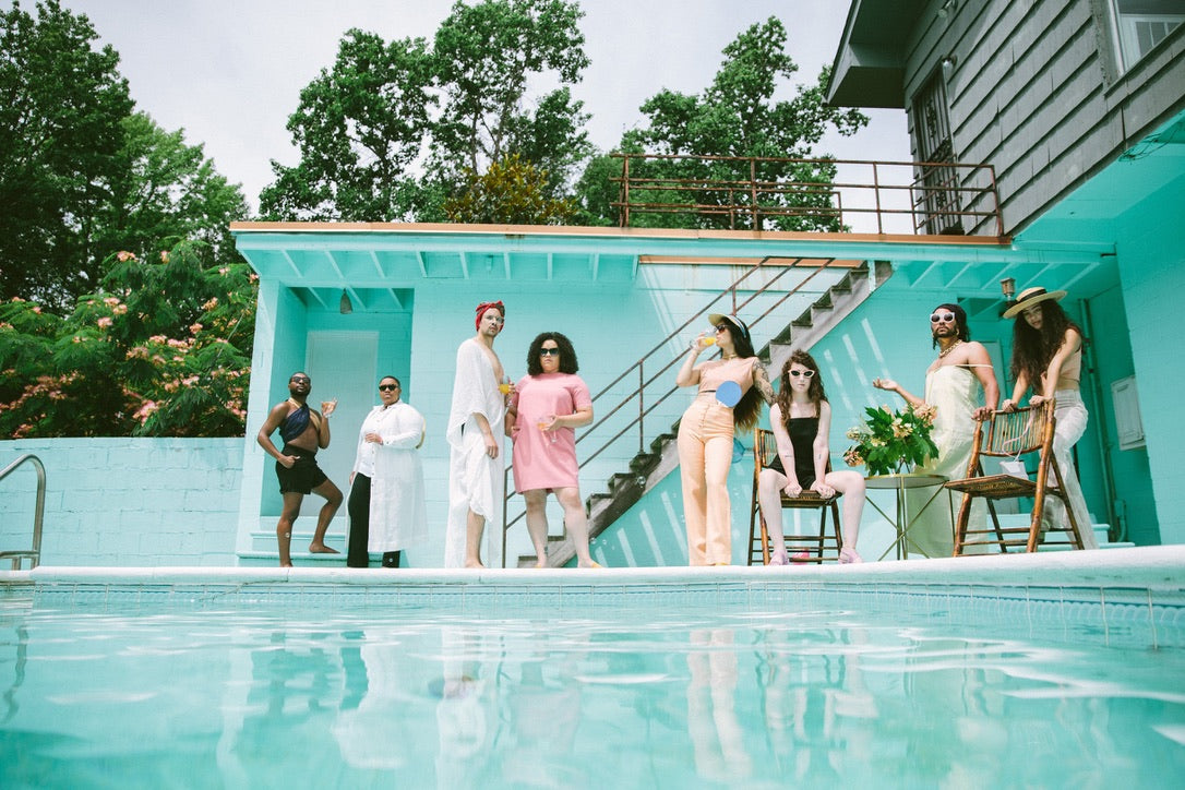 slim aarons-inspired poolside photoshoot with lgqbtq models for pride 2020