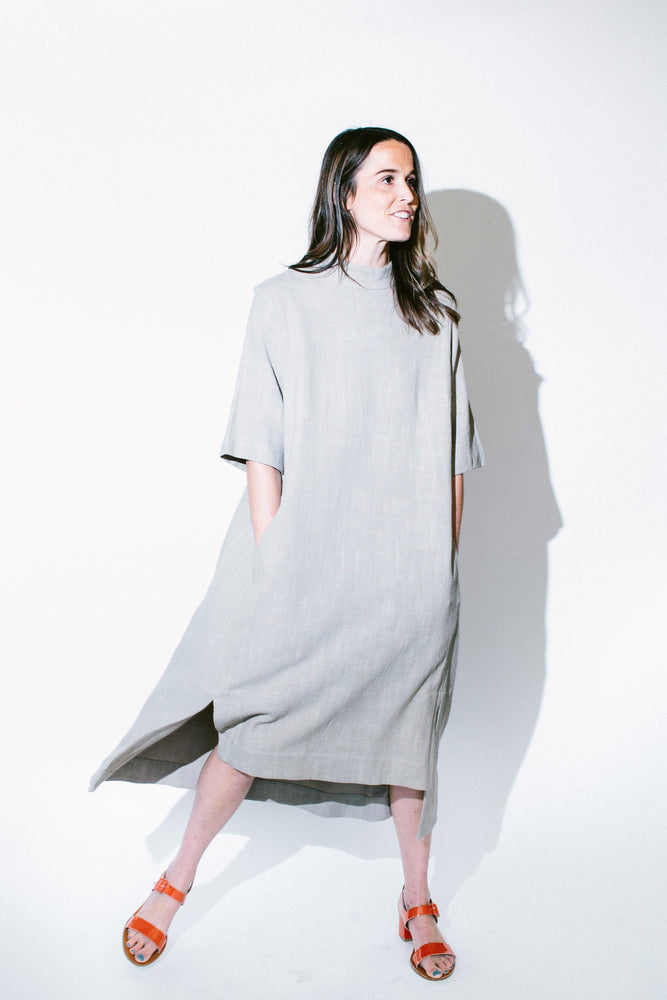 mock neck square hem dress - basic.