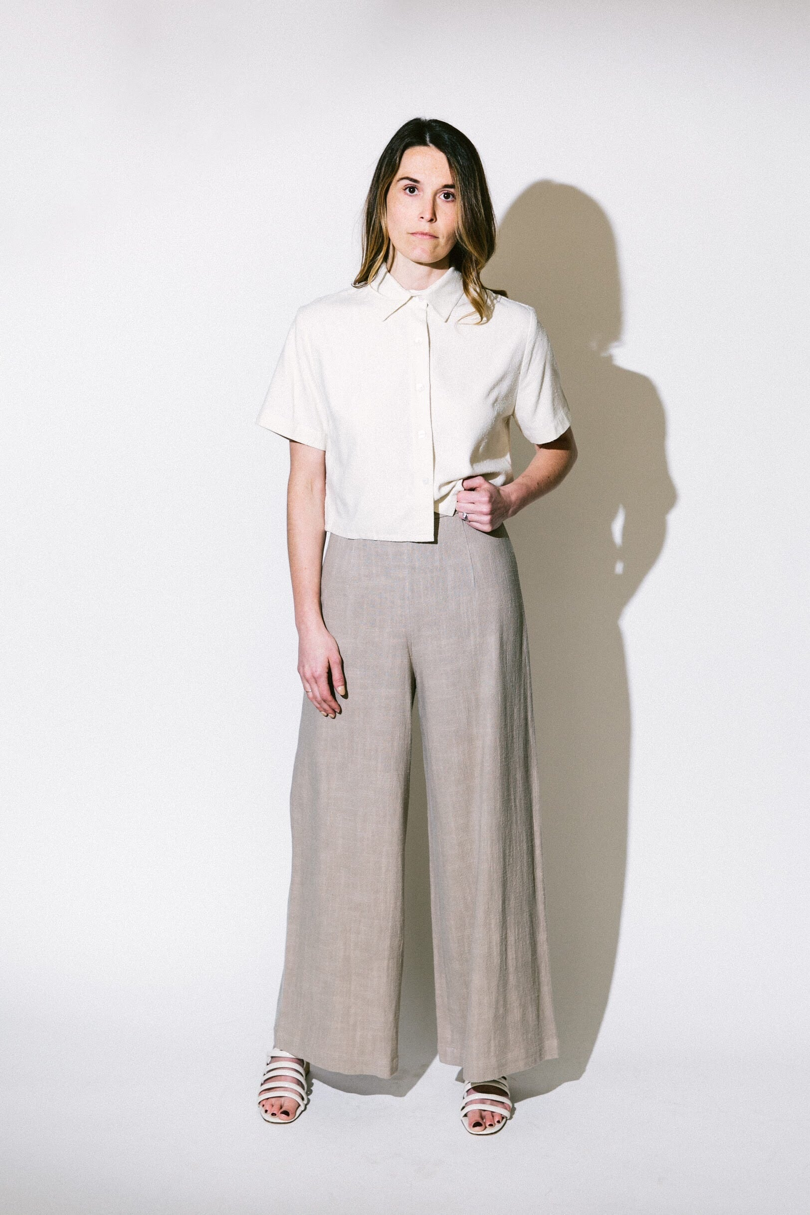 linen wide-legged trouser