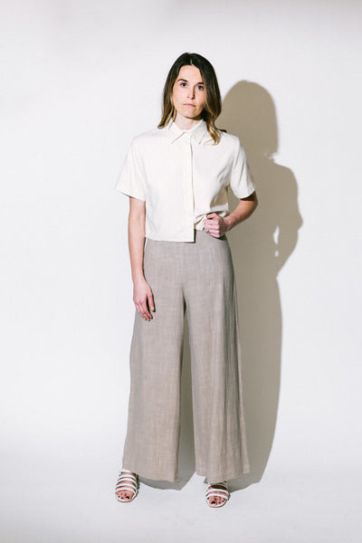 linen wide-legged trouser - basic.