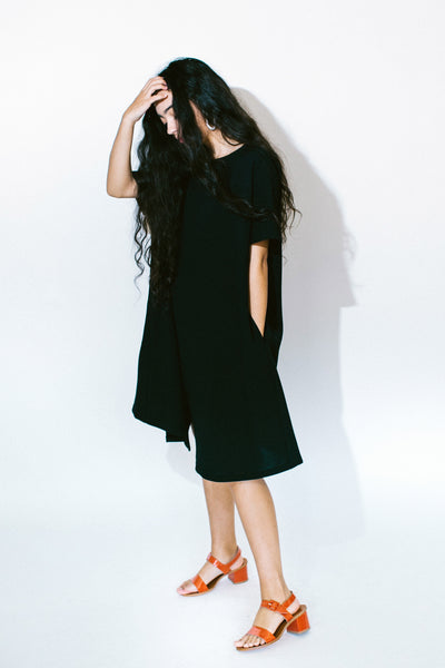 jam short sleeve front seam midi dress - basic.