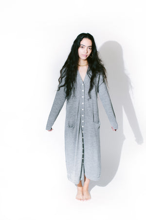 loose cardigan button dress - basic.