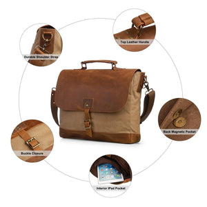 Canvas Laptop Bag / Briefcase - Brown - Athlete Denim