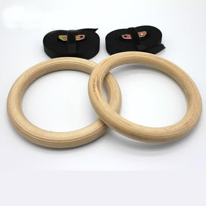 Sports Equipment - Wooden 28mm Gymnastic Rings With Adjustable Straps