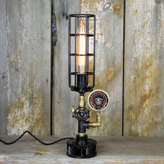 Industrial Table Lamp with a Brass Gauge & Valve - Steampunk Desk Lamp #110