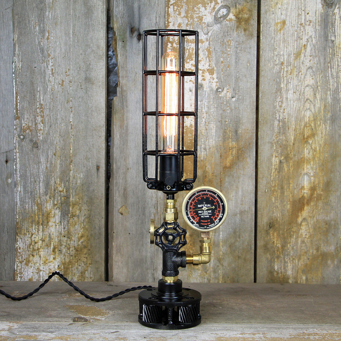 Industrial Table Lamp with a Brass Gauge & Valve - Steampunk Desk Lamp #110 - The Lighting Works