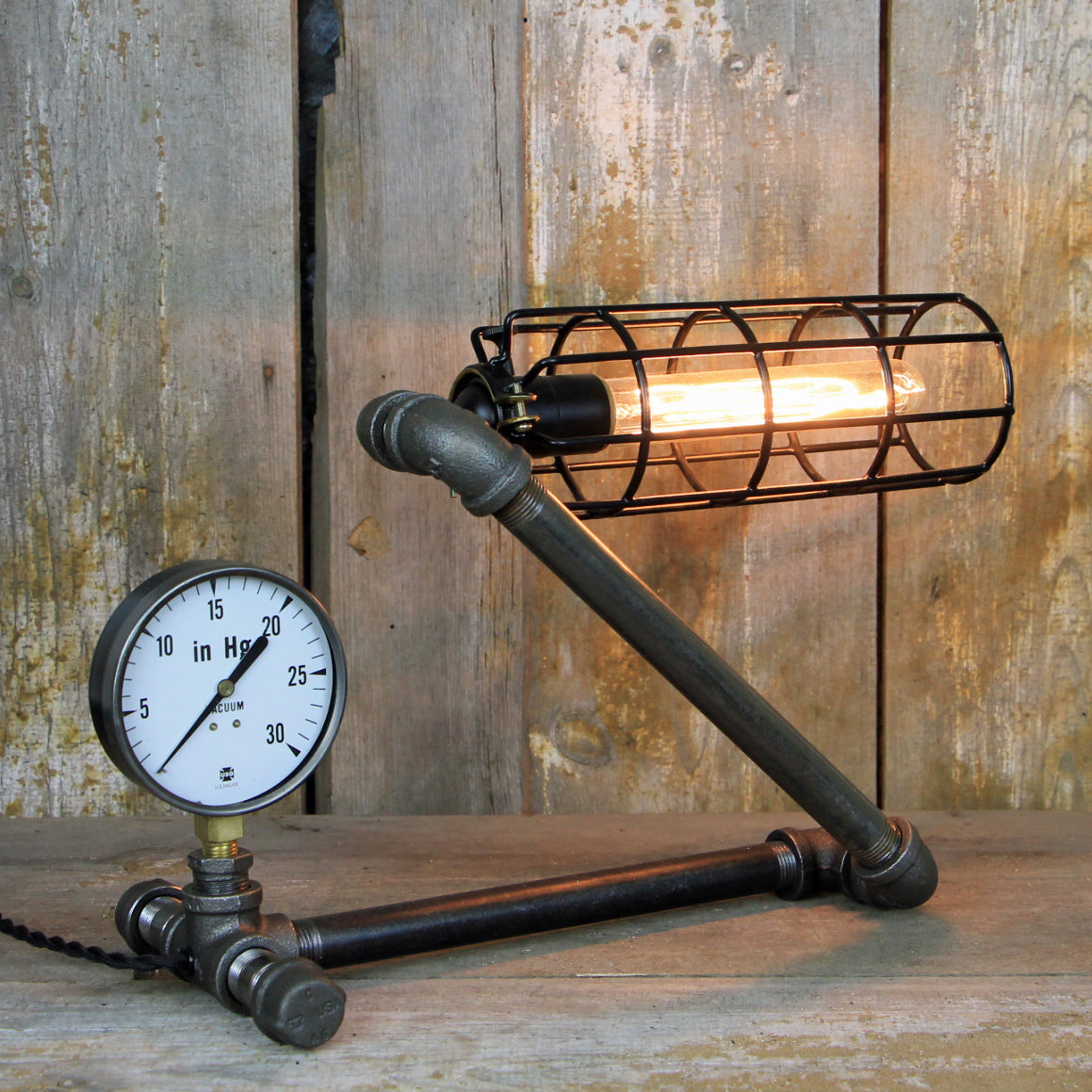 Steampunk Table Lamp with a Sleek Industrial Design #142 - The Lighting Works