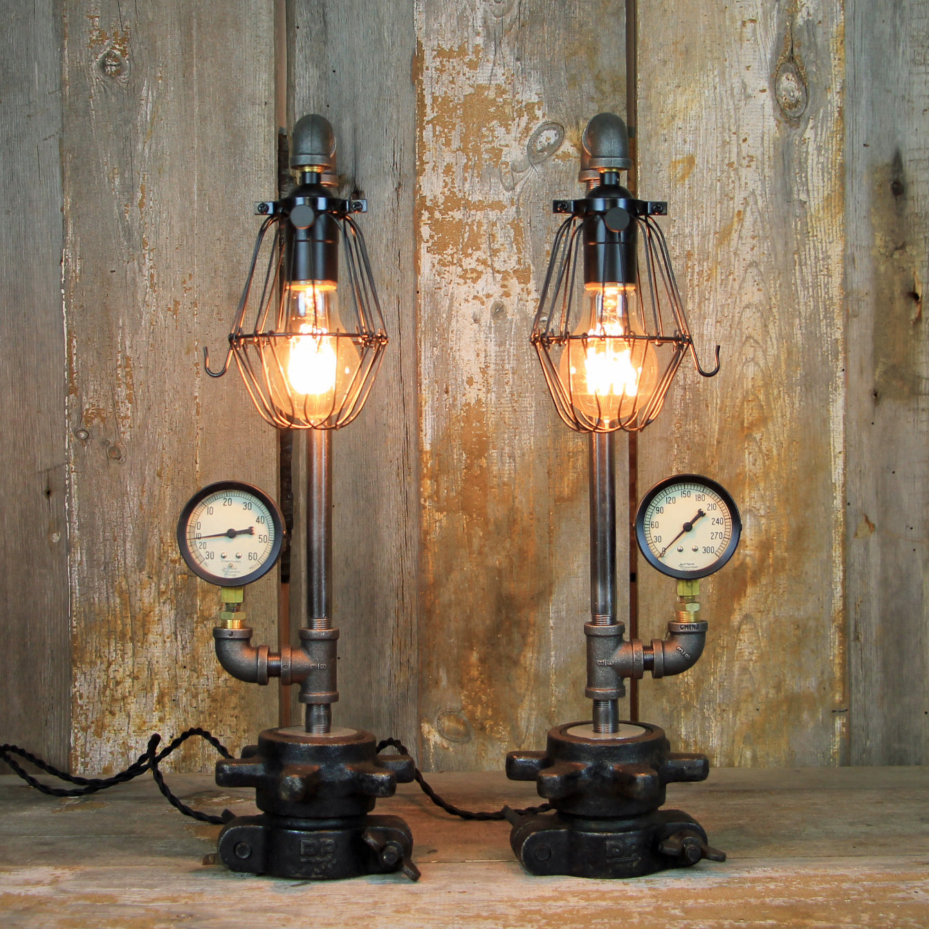 Steampunk table lamps with edison bulbs industrial table lamp pair 146