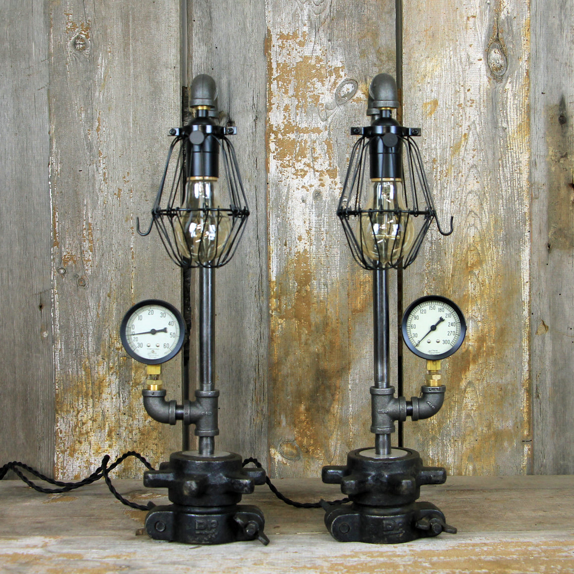 Steampunk Table Lamps with Edison Bulbs - Industrial Table Lamp Pair #146 - The Lighting Works