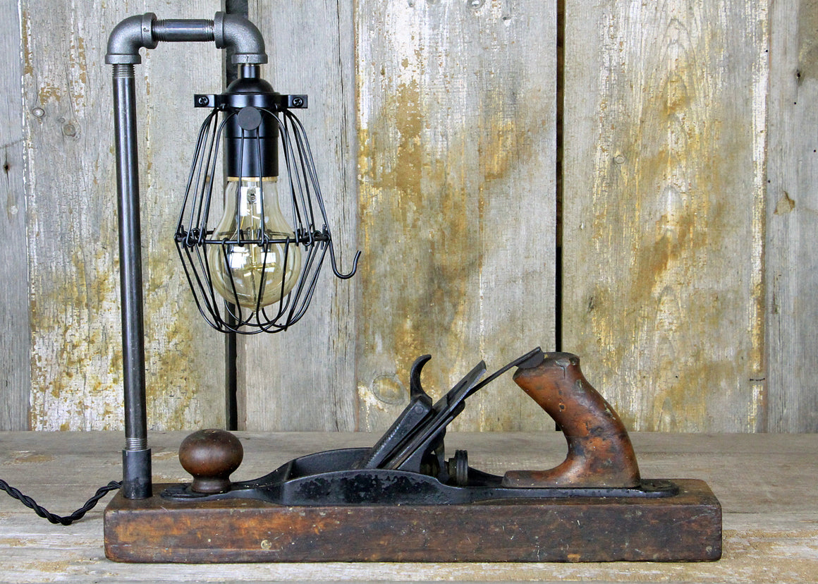 Table Lamp, Unique Lamp, Bailey Plane Lamp, Carpenters Gift, Vintage Wooden Lamp, Desk Lamp #1902 - The Lighting Works